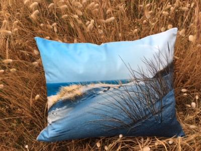 coussin photo sable mer
